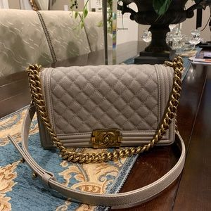 Chanel boy grey color with gold hardware